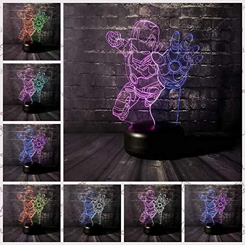 Iron Man 3D Lampe 7 Farbe LED Farbverlauf Nachtlicht Kinder Tisch Kind Baby Schlafen Festival Geburtstag Weihnachtsgeschenke