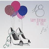 "White Cotton Cards Code xe67–18""18Happy Birthday To You..."" Hecho a mano 18th Tarjeta de felicitación de cumpleaños, rosa"