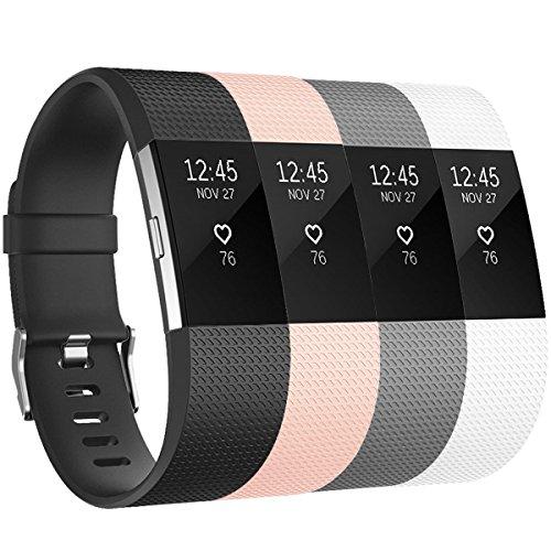 Fitbit Charge 2 Armband Tobfit Weiches TPU Ersetzbar Armbänder Fitness Verstellbares für Fitbit Charge 2 (&4-Pack Schwarz+Grau+Rosa+Weiß, S)