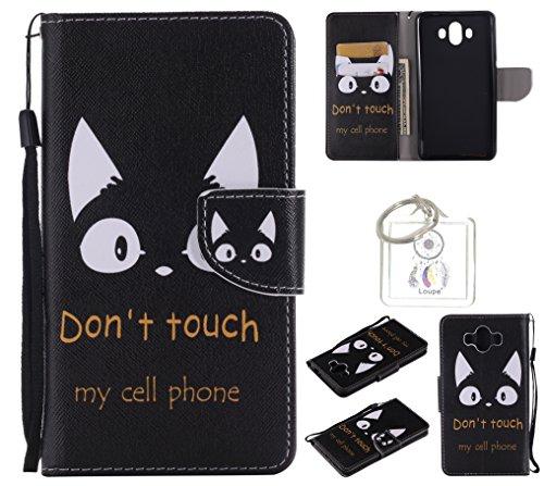 Preisvergleich Produktbild für Huawei Mate 10 PU Wallet Case Schutz Hülle für - Cover Flip Tasche mit Kartenfach in Buch Stil mit Kartenfach Standfunktion Magnetverschluss und Hand Wrist +Schlüsselanhänger (O) (18)