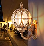 Outdoor Wandleuchten Wasserdichte Wandleuchten Balkon Villa Gang Korridor Tür Lampe Westernstyle Outdoor Garten Licht Aluminium Glas E27,Gold,31*20.5Cm