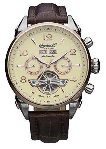Ingersoll IN4514RCR - Orologio automatico da uomo, con quadrante con cronografo giallo e cinturino in pelle marrone