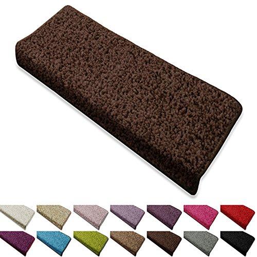 Shaggy Stufenmatten Barcelona von casa pura® | Schutz für Treppenstufen | weicher Hochflor | GUT-Siegel und Blauer Engel | rechteckig | Einzeln oder als Set | viele Farben | 15er Set | Dunkelbraun