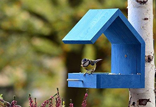 Luxus-Vogelhaus 38463e Vogelfutterhaus aus Holz zum Hängen mit Satteldach und Anflugstange (Vogelhaus), azurblau - 5