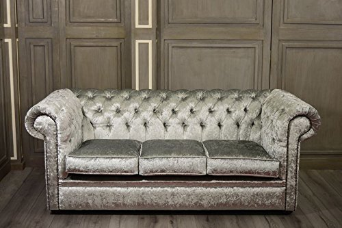 New Luxus Chesterfield Stoff Shimmer Silber 3-Sitzer-Sofa