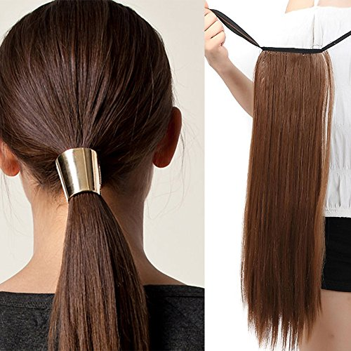Extension capelli clip coda di cavallo [marrone chiaro] veri lisci lunghi sintetici one piece wrap ponytail extension straight tie up 55cm 22