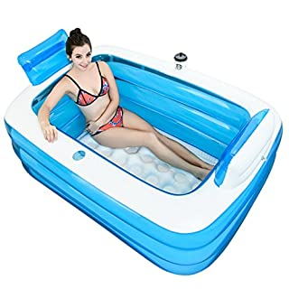 YG Aufblasbare Badewanne verdickte erwachsene Wanne Faltwanne (transparent blau, 1,5m)