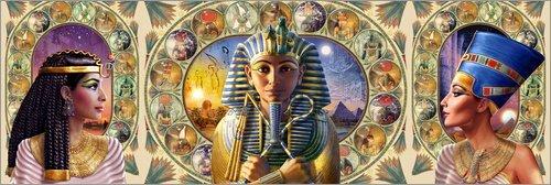 Poster 180 x 60 cm: Cleopatra, Tutenchamun und Nofrete von Andrew Farley/MGL Licensing - Hochwertiger Kunstdruck, Kunstposter