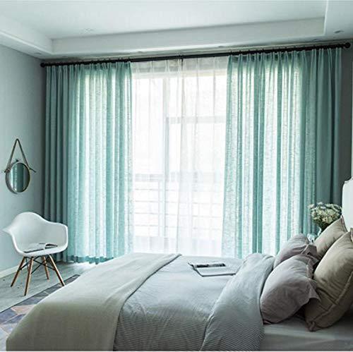 ZYLHC Volltonfarbe Halb Blackout Vorhänge, Baumwolle Leinen Vorhang Tüll Voile Panels Für Wohnzimmer Schlafzimmer Fenster Drapiert 1 Pc-grün W300*h270cm(118 * 106inch) - Baumwolle-seide Voile