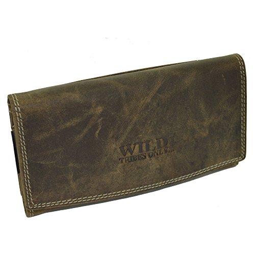 flevado Große schmale Wildleder Damen Geldbörse Brieftasche Unisex Geldbeutel mit viel Stauraum in braun 400 -