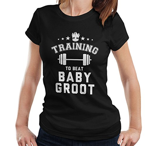 Guardians Of The Galaxy Training To Beat Baby Groot Women's T-Shirt Black