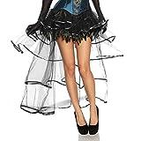 jowiha® Burlesque Volant Rock aus Satin, Tüll & Federn Größe One-Size 2 Farben Schwarz oder Schwarz/Lila Einheitsgröße S-L