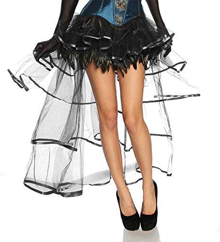 jowiha Burlesque Volant Rock aus Satin, Tüll & Federn Größe One-Size 2 Farben Schwarz oder Schwarz/Lila Einheitsgröße S-L, 34,36,38,40,S,M,L,XL, ()