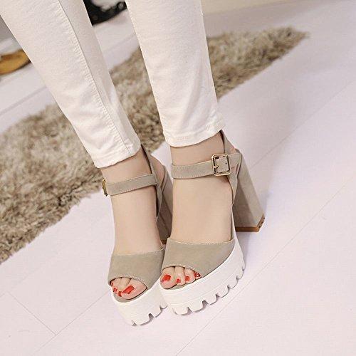 Mee Shoes Damen Blockabsatz Plateau Schnalle Sandalen Aprikose