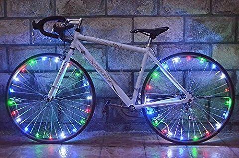 sypure (TM) Beauté de roue de vélo résistant à l'eau 20LED pour vélo Cyclisme pour rayons de roue de jante LED Lampe Corde Fil 2,2m - Multi Spoke Wheel