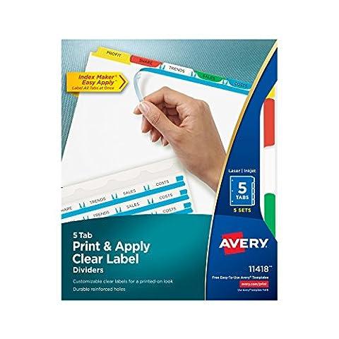 Index Maker Divider w/Multicolor Tabs, 5-Tab, Letter, 5