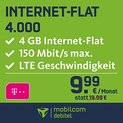 mobilcom-debitel Internet-Flat 4.000 im Telekom-Netz (9,99 EUR monatlich, 24 Monate Laufzeit, 4 GB Internet-Flat, LTE mit max. 150 MBit/s, EU-Roaming-Flat, Triple-Sim-Karten)
