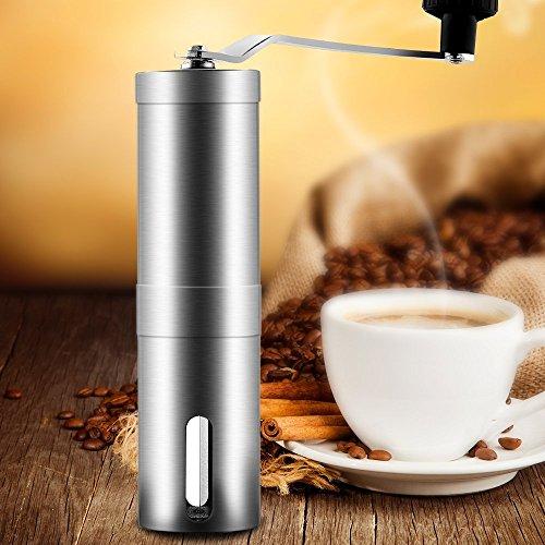 YOEEKU Manuelle KaffeemüHle Aus Rostfreiem Edelstahl-Hand Tragbar-EspressomüHle HandkaffeemüHle mit Keramikmahlwerk-Einstellbare Burr MüHle Von Grob Bis Fein-Perfekt für Outdoor-Camping, Reisen, etc.