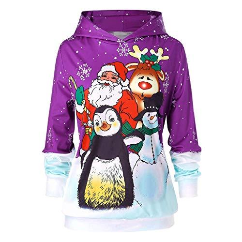 YBWZH Weihnachtspullover Damen Penguin Santa Rudolph Gedruckte Hoodies für Weihnachten Große Größen Locker Weihnachtspullis für Kapuzenpullover Weihnachtsweihnachtsmann-Pullover mit Kapuze