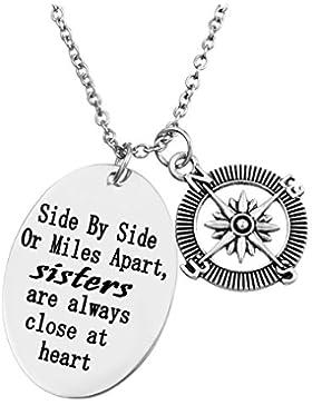 Damen Mädchen Schwester Halskette Kompass Anhänger Kette mit Gravur