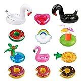SEELOK 12pcs posavasos de flotador unicornio inflador flamenco colchonetas y juguetes hinchables de niños adultos fiesta piscina