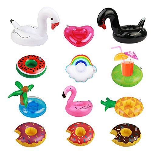 Portabevande gonfiabile, seelok 12 pz gonfiamento galleggianti per bevande galleggianti portabicchieri nuoto dispositivi di galleggiamento per la festa in piscina divertimento acquatico bambini giocattoli da bagno doccia