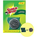 ScotchBrite Stainless Steel and Scrub Pad combo 1 Steel Scrubbers (15g) + 2 Scrub pads