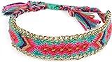 styleBREAKER geknüpftes Armband mit Goldener Kette im Ethno Design, Schiebeverschluss, Schmuck, Damen 05040080, Farbe:Mint-Pink-Rot