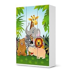 IKEA armoire pax 236 sticker cm de haut - 3 portes autocollant wild animals design floraux (kids your) garde-robe pour chambre d'enfant