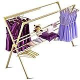 Aufhänger Boden wäscheständer doppelstock klapp Balkon außen Winddicht wäscheständer trocknen Quilt Rack kühlen Rack wäscheständer (Color : Gold, Size : S)