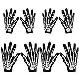 4 Pares de Guantes de Esqueleto Negro Blanco Guantes de Halloween Accesorio de Disfraz de Calavera Huesos Fantasma para Adultos y Niños Guantes de Disfraces