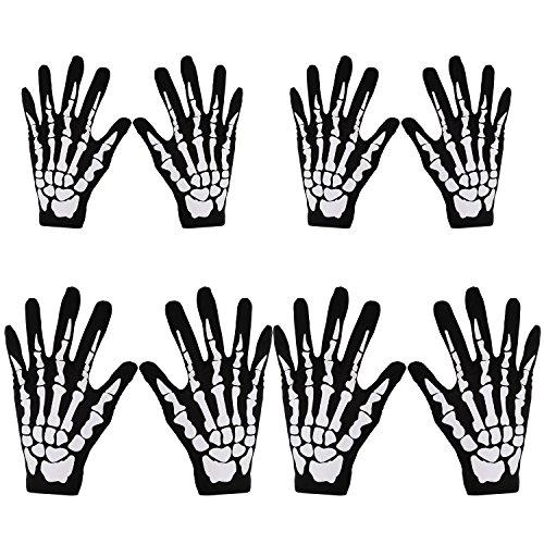 4 Paar Halloween Schwarz Weiß Skelett Handschuhe Schädel Kostüm Zubehör Geist Knochen für Erwachsene und Kinder Halloween Tanzen Party Kostüm Handschuhe