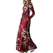 Robe Femme Chic de Soiree Convient pour l automne Col V Manches Longues  avec Poche 26bf5d985753