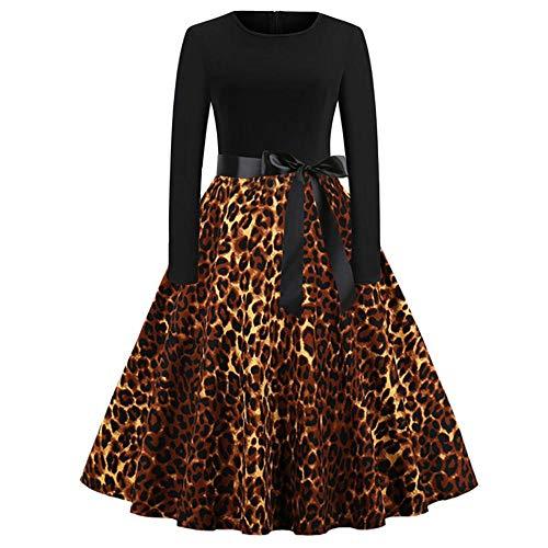 Skang Kleider Vintage Ballkleid Cocktailkleid Damen Vintage Leopard Print Langarm Abend Party Swing Kleid Kordelzug Weihnachts Lässige Minikleid