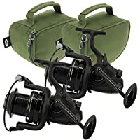 2x NGT Dynamic 7000 10BB Large Big Pit Carp Runner Coarse Fishing Reels with Spare Spool & Deluxe Padded Cases with Handles