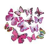 La vogue Farbig 12er 3D Schmetterling Wandsticker Aufkleber Fenstersticker Wanddeko Wanddekoration