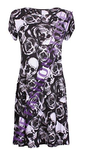 Mesdames Midi à capuchon robe Swing à manches courtes A-Line Patineuse évasée Thé Uni Skulls & Roses