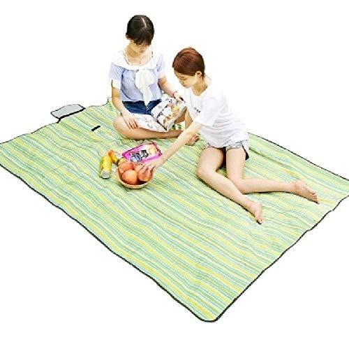 DOW Outdoor - Feuchtigkeit matratze der wasserfeste Matte Picknick - matratze Beach - matratze 150 * 100cm grün - gelben Streifen - Streifen Matratze