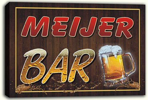 scw3-052131-meijer-name-home-bar-pub-beer-mugs-stretched-canvas-print-sign