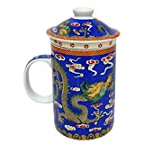 Ascension777 fsh262F Feng Shui Chinesische Porzellan Tasse Tee Tasse mit Deckel: Dragon Blau