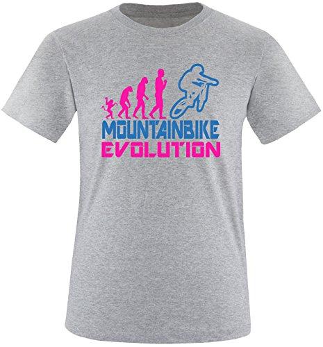 EZYshirt® Mountainbike Evolution Herren Rundhals T-Shirt Grau/Pink/Blau