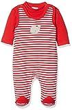 Schnizler Unisex Baby Strampler Set Wal, Rot Geringelt, 2-TLG. mit Langarmshirt, Oeko-Tex Standard 100, weiß 44, 68