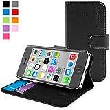 iPhone 5c Hülle (Schwarz), SnuggTM - Flip Case mit lebenslanger Garantie + Kartenfächern & Standfunktion