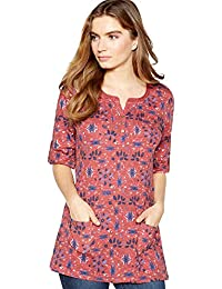4c42765cee8 Mantaray Womens Pink Floral Print Cotton Tunic Top