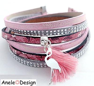 Bracelet manchette femme aimanté Flamant rose argenté pompon rose noir gris