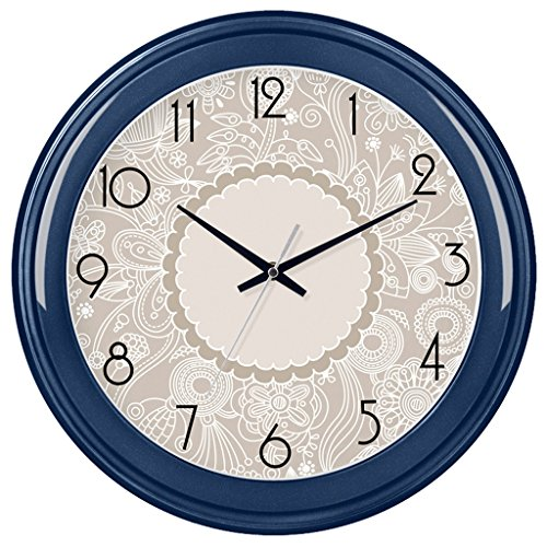 LINGZHIGAN Personnalité de 14 pouces Mute Horloge Murale Creative Salon Chambre Ronde Quartz Horloge Montre Suspendue Table Creative Simple Horloge Murale (Couleur : Royal blue)