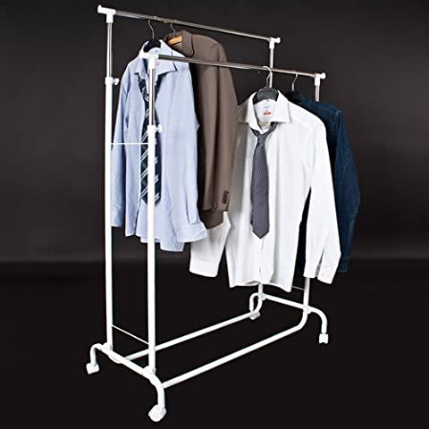 TecTake Clothes Rack Mobile Garment Rail double heavy duty hanging