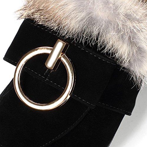 ENMAYER Femmes Hiver Escarpins Chaussure Talon compensé Amande en forme de Toe avec fourrure noir1
