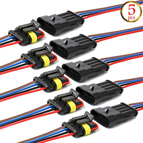 YETOR Way Auto Wasserdichter elektrischer Steckverbinder, 4pin Stecker Autoelektrischer Kabelverbinder mit Kabel 16 AWG Marine für Auto, LKW, Boots- und andere Kabelverbindungen. (5 Pack)