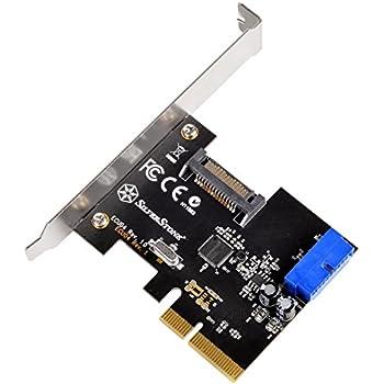 SilverStone SST-ECU04 - SuperSpeed 1x USB 3.1 Carte PCI-E Express interne Gen 2.0 2x, 10 Gbps, support profile bas
